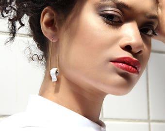 Elegant earrings, long earrings, porcelain earrings and plated gold, Ceramic Earrings, Fashion earring, Minimal earrings,Press back earrings