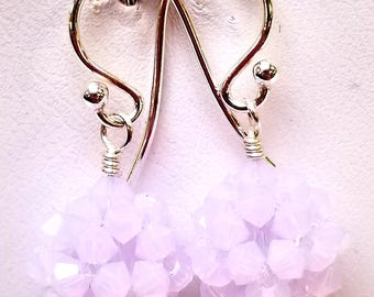 Violet Opal, Swarovski, Swarovski Crystal,  Crystal Ball, Woven, Sterling silver, earrings, Violet, Opal