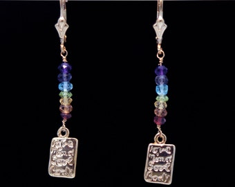 CHAKRA Stones Earrings 7 Chakra Love Mind Soul Body Charm Earrings with Garnet, Topaz, Heliodor, Peridot, Iolite, Amethyst on 14k Gold Fill