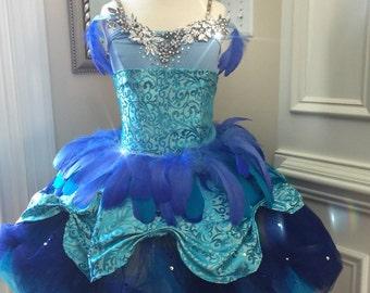 One Piece CUSTOM Dance Costume--Blue bird Beauty Sleeping Beauty---Ballet-AMAZING with TUTU and Appliques Award Winner