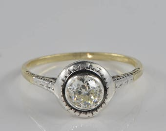 Authentic Victorian .60 Ct solitaire diamond rare target ring