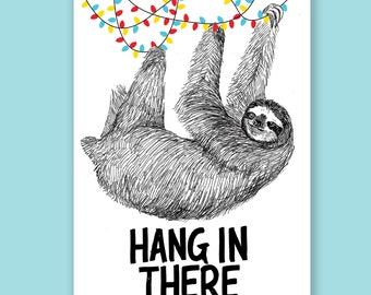 Hang in There | Sloth Holiday Card