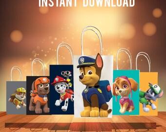 Paw Patrol Favor Bag,Paw Patrol Downloads,Paw Patrol Party Favors,Thank You Cards,Paw Patrol decorations,Favor Bag Printables,Favor Download