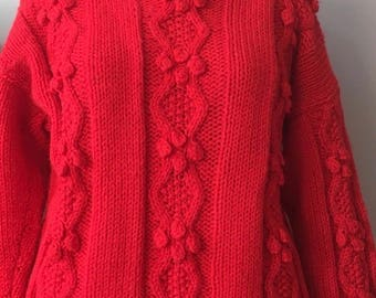 handmade red Aron polo neck jumper size 16