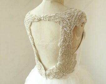 Ivory A line tulle beading keyhole back ruffled wedding dress