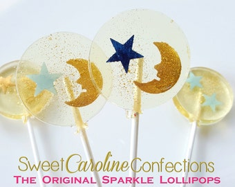 Star and Moon Baby Shower Lollipops, Star Party, Twinkle Twinkle, Candy Lollipops, Candy, Sparkle Lollipops, Sweet Caroline -6/Set
