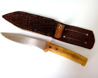 Hunting Knife with Bone Handle / Vintage Handcrafted Camping Knife / Stainless Steel Blade / Old Outdoor Hiking Fishing Gift Leather Sheath
