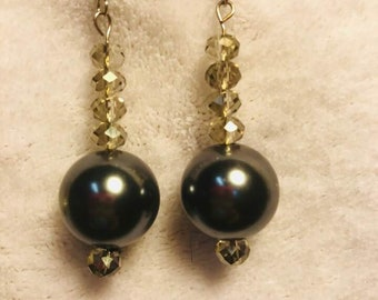 Large gray pearls with smokey beads