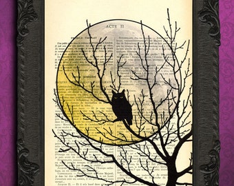 moon art, halloween owl on branch, night owl, full moon print, creepy art, fall autumn decor dictionary art print