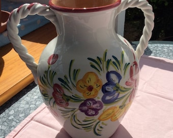 Nice ceramic vase with handles twisted french vintage