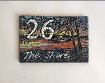 FREE SHIPPING Mosaic house address sign-custom designed-stained glass-tile