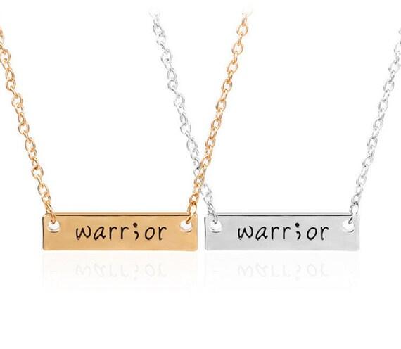 Semicolon Project Jewelry, Suicide Prevention Logo, Warrior Necklace, Warrior Semi colon Charm Necklace, Warrior Charms, Semi-colon Jewelry