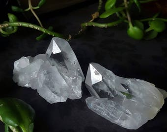 Quartz Cluster Set - Clear Quartz Cluster Pair - Quartz Crystal Clusters - Small Size Quartz Cluster Set - Raw Quartz Crystal Pair