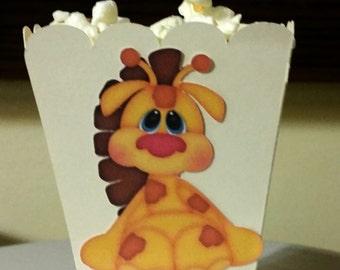 popcorn box, popcorn box favor, baby shower favor, giraffe favor