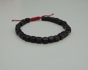 tiger ebony wood bead bracelet