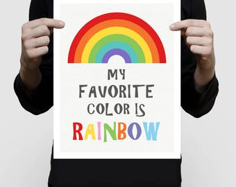rainbow nursery art - my favourite colour is rainbow, colourful quote, nursery prints, rainbow wall art, nursery wall art, playroom print