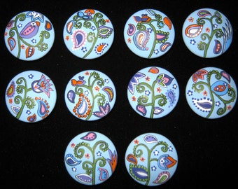 10 - BLUE PAISLEY - New COLORS - Hand Painted Dresser Drawer Knobs for nursery, home or office