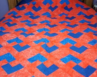 Blue and Orange Quilt