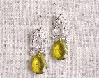 CLEARANCE . gardenia . silver // silver flower earrings . flower jewelry . olive green . faceted teardrop earrings