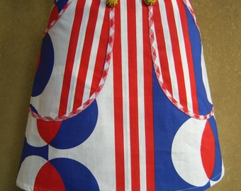 Red White and Blue skirt, A-line skirt, cotton skirt, big pattern, upcycle, big pockets, decorative buttons, stripes dots, ALL sizes