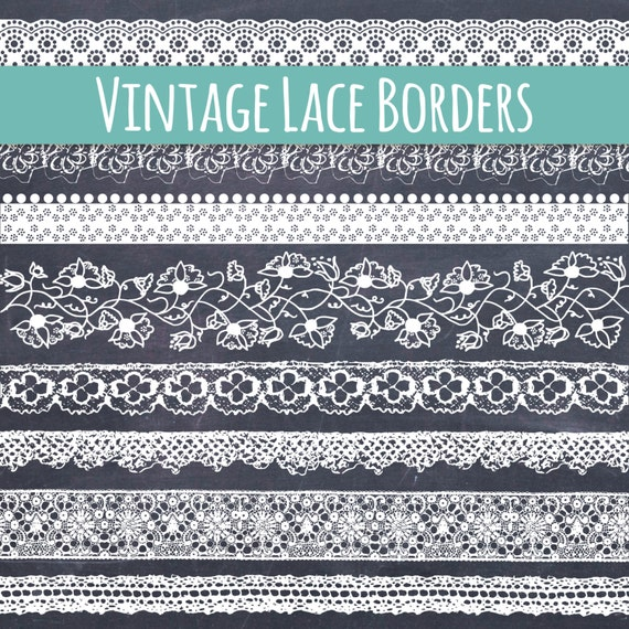 CLIP ART Lace Borders Beautiful Vintage Ribbon Clip Art Scrapbooking Websites DIY Cards Invitations Commercial Use From ThePENandBRUSH
