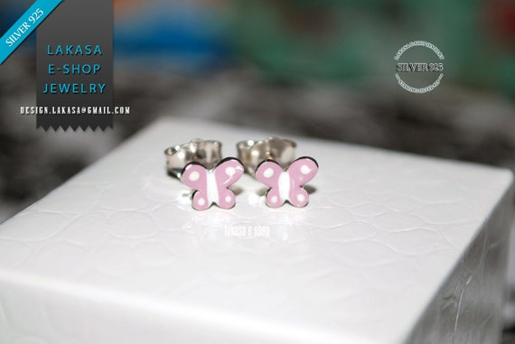 Purple Enamel Butterfly Studs Earrings Sterling Silver 925 white Gold-plated Handmade Jewelry Baby Girl Gift Kids Collection Floral Design