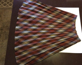 Vintage Haband For Her Brown Plaid Pleated Skirt