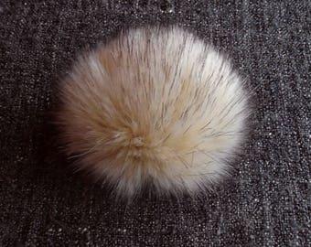 Size M, (Ecru - dark tips) faux fur pom pom 4.5 inches/12 cm
