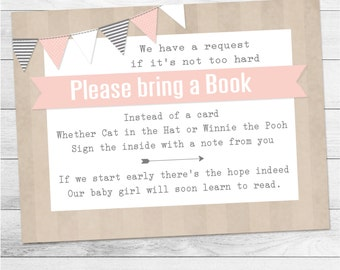 Pink Girl Bookcard Insert, Baby Shower Bookcard