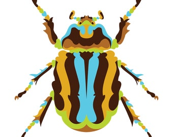 Scarab Beetle. Cross Stitch pattern, Digital Download PDF. Complete scarab or beetle pattern chart. Bright and colorful.