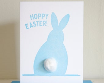 Hoppy Easter Bunny Card, Happy Easter Card, Peter Cottontail, Letterpress Easter Card