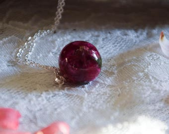 Small Real Rose Necklace