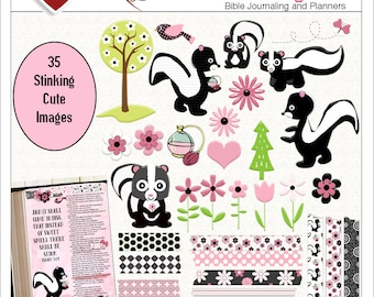 Sale! Stinking Cute BOTH: Printable & Digital Bible Journal Kits. (Print PDF on Sticker or Copy Paper OR use in Photoshop Elements)