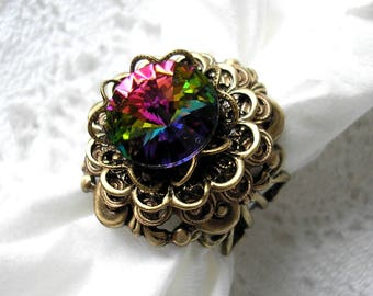 Rainbow Vitrail Swarovksi Crystal Rivoli Ring Antiqued Brass Filigree Ring- Morning Glory Designs