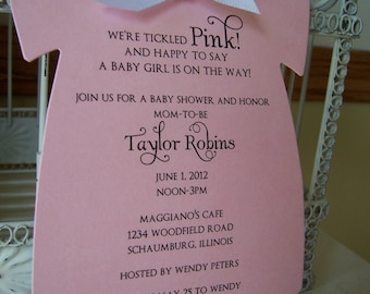 The Original Pink Baby Girl Themed Baby Shower Invitation  - Custom Die Cut