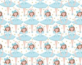 Snowflake Waltz - Clara in White by Maud Asbury from Blend Fabrics