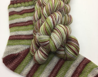Hand dyed self striping sock yarn - Where The Wild Roses Grow