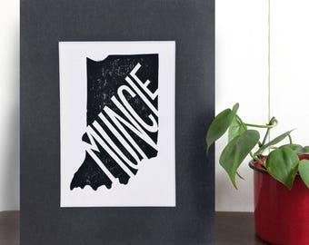 "Muncie print, 8 x 10"", Muncie art, Indiana art, Hoosier art, Block print, Indiana gifts, Mat"