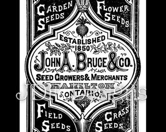 Instant Digital Download, Vintage Victorian Era Graphic, John A. Bruce Seeds Ad Advertisement Antique Print Printable Image Typography
