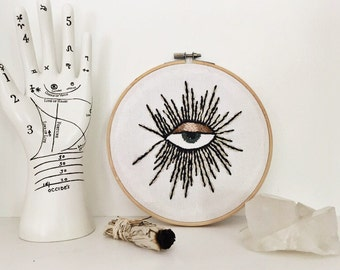 all seeing eye embroidered hoop art