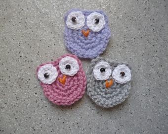 3 applied owls cotton crochet handmade