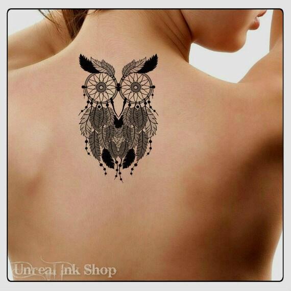 Temporary tattoo owl dreamcatcher waterproof ultra thin for Fake tattoo creator