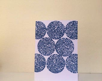 Block print card with floral design