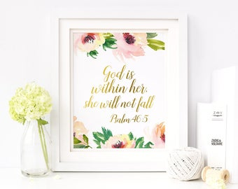 God Is Within Her She Will Not Fall Psalm 46:5 Scripture Nursery Print Bible Verse Printable Wall Art Floral Nursery Decor Christian 8x10