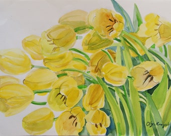 Tulips Original Watercolour art painting 12 x 15 in Botanical illustration floral watercolor flowers home decor Spring Flowers gift for her