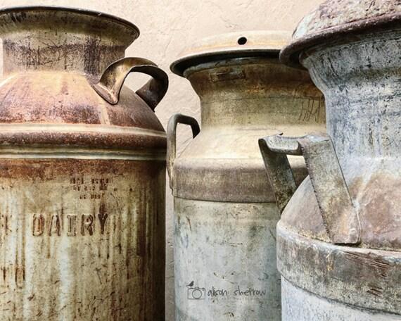 Modern Rustic Wall Decor: Milk Can Decor Modern Rustic Wall Art Kitchen Photography