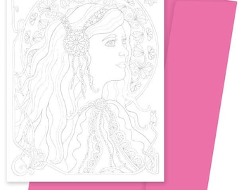 A5 Colouring Card- Nouveau Lady