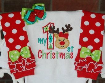 Baby Girl Christmas Outfit! My 1st Christmas outfit for baby girls/ Baby Girl First Christmas Outfit/Reindeer Christmas Outfit/1st Christmas