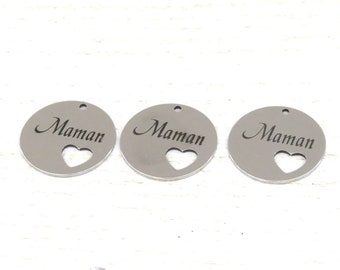 """set of 3 medallions """"MOM"""" in silver"""