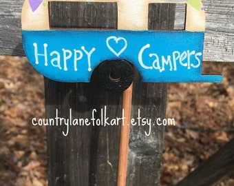 Happy camper, vintage camper decor, plant pokes, plant decorations, gift for gardeners, hand painted wood camper, summer decorations, blue